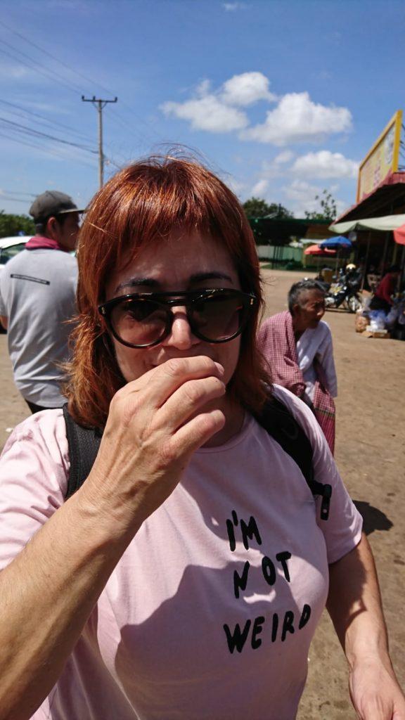 comiendo insectos en Camboya